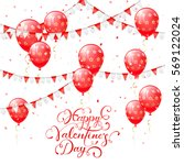 valentines background with red... | Shutterstock . vector #569122024
