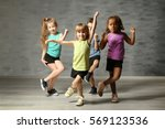 cute funny children in dance... | Shutterstock . vector #569123536