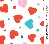 seamless hearts and dots... | Shutterstock .eps vector #569124223