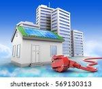 3d illustration of green house... | Shutterstock . vector #569130313