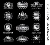 set of silver luxury labels... | Shutterstock .eps vector #569132710