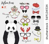 graphic set of panda bear and... | Shutterstock .eps vector #569134534
