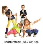 cute little dancers on white... | Shutterstock . vector #569134726