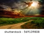 country road through the green... | Shutterstock . vector #569139808