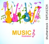 abstract music poster with... | Shutterstock .eps vector #569141524