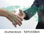 double exposure of two business ... | Shutterstock . vector #569143864