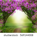 Stock photo fantasy background magic forest with road beautiful spring landscape lilac trees in blossom 569144008