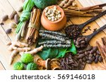 a variety of local herbs and... | Shutterstock . vector #569146018