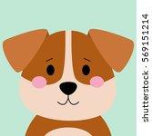 Stock vector cartoon animal cute puppy on blue backgrounds flat design vector illustration 569151214