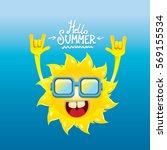 hello summer rock n roll poster.... | Shutterstock .eps vector #569155534