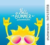 hello summer rock n roll poster.... | Shutterstock .eps vector #569155558