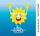 hello summer rock n roll poster.... | Shutterstock .eps vector #569155564