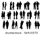 vector drawing couples on the... | Shutterstock .eps vector #56915575