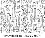 funny giraffes sketch  seamless ... | Shutterstock .eps vector #569163574