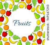 fruits poster of garden apple ... | Shutterstock .eps vector #569167243
