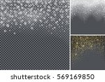 snow confetti on transparent... | Shutterstock .eps vector #569169850
