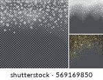 snow confetti on transparent... | Shutterstock .eps vector #569169850