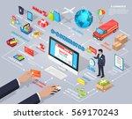 e commerce global internet... | Shutterstock .eps vector #569170243