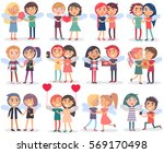 couples on valentine's day on... | Shutterstock .eps vector #569170498
