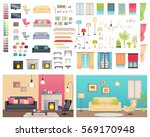 Modern interiors of two different comfortable flats. Vector illustration of various furniture and decoration items. You can choose sofas with cushions, lighting devices, types of chimneys and windows | Shutterstock vector #569170948