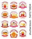 fast food symbols set of... | Shutterstock .eps vector #569173834