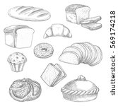 Bread Sketch Vector Icons Of...