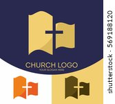 church logo. christian symbols. ... | Shutterstock .eps vector #569188120