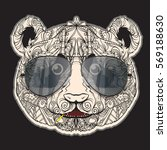 vector face of panda with... | Shutterstock .eps vector #569188630