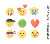 set of pixeled emoticons for... | Shutterstock .eps vector #569190154