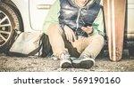 young hipster man listening... | Shutterstock . vector #569190160