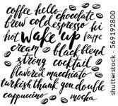 set of ink brush lettering... | Shutterstock .eps vector #569192800