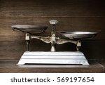 vintage balance on wood... | Shutterstock . vector #569197654