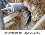 diamond drilling machine hole... | Shutterstock . vector #569201758