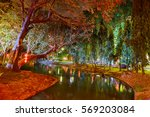 water canal in the city park... | Shutterstock . vector #569203084