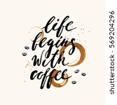 hand drawn ink lettering with... | Shutterstock .eps vector #569204296