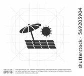 beach umbrella and chaise... | Shutterstock .eps vector #569205904