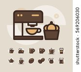 coffee icons set | Shutterstock .eps vector #569206030