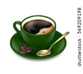 dark green cup of coffee.... | Shutterstock .eps vector #569209198