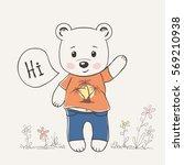 cute little bear vector... | Shutterstock .eps vector #569210938