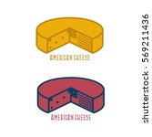 block of cheese with american... | Shutterstock .eps vector #569211436