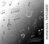 hand drawn set of  music... | Shutterstock .eps vector #569216830