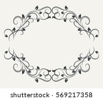 black and white floral frame... | Shutterstock .eps vector #569217358