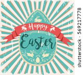 vintage greeting easter... | Shutterstock .eps vector #569217778
