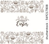 vintage easter background with... | Shutterstock .eps vector #569217808