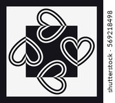 hearts square shape black and... | Shutterstock .eps vector #569218498