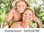 senior happy couple having fun... | Shutterstock . vector #569218780