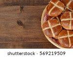 closeup top view hot cross buns | Shutterstock . vector #569219509