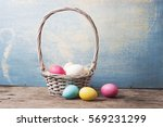 Easter. Basket With Eggs On A...