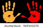 two different hand print in... | Shutterstock .eps vector #569241070