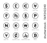 Stock vector set of icons for currency symbol 569242240